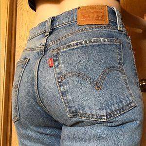 Levi's Hi Rise Button Fly Straight Leg RawHem Jean